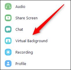 """Cliquez sur """"Contexte virtuel"""" dans le menu Paramètres de zoom."""