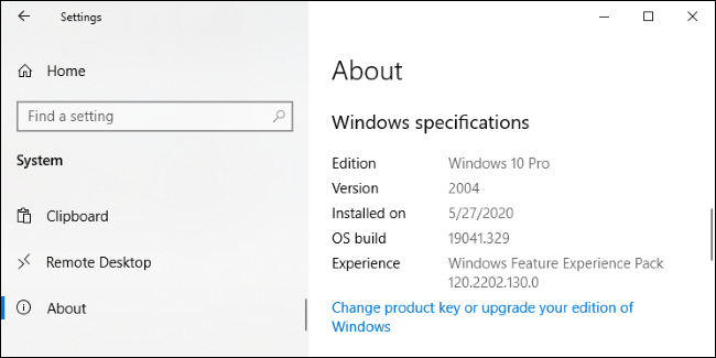 Écran Paramètres> Système> À propos de Windows 10.» width=»650″ height=»325″ onload=»pagespeed.lazyLoadImages.loadIfVisibleAndMaybeBeacon(this);» onerror=»this.onerror=null;pagespeed.lazyLoadImages.loadIfVisibleAndMaybeBeacon(this);»/></p> <h2 role=