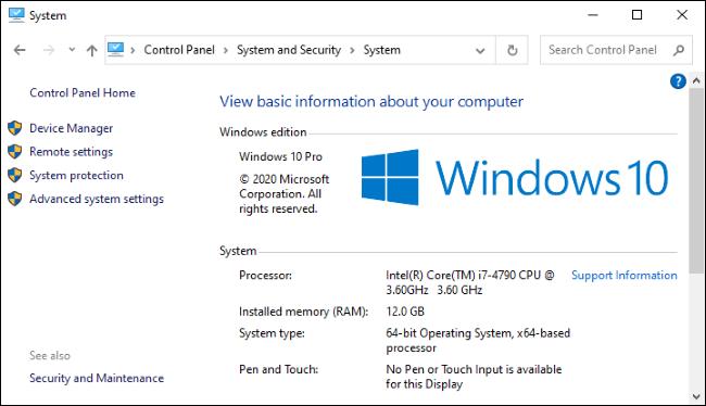 L'écran Système dans le Panneau de configuration de Windows 10.