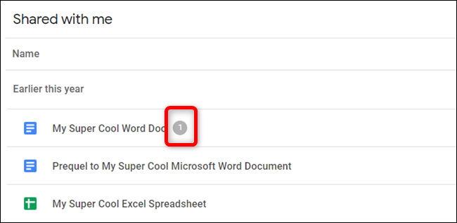 Les fichiers qui ont des tâches en attente afficheront un nombre (combien de tâches) à côté du nom du document.