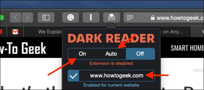 Cliquez pour activer l'extension Dark Reader dans Safari