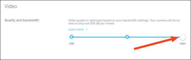 Modifiez la qualité de votre vidéo à l'aide du curseur