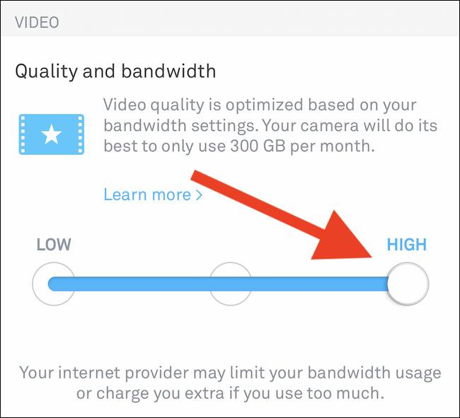 Changer la qualité vidéo à l'aide du curseur