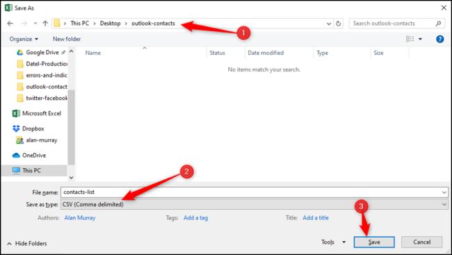 Enregistrer en tant que type de fichier CSV