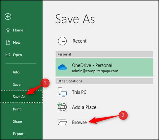 Enregistrer sous un type de fichier différent dans Excel