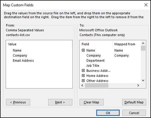 Mappage des champs lors de l'importation de contacts