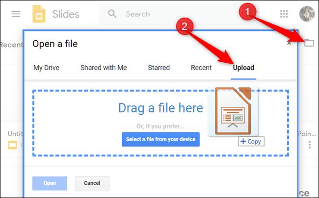 Cliquez sur l'icône de dossier dans le coin supérieur, cliquez sur l'onglet Télécharger, puis faites glisser un fichier de votre ordinateur dans la fenêtre.