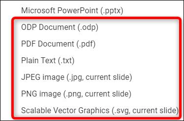 La fenêtre des options de format de téléchargement dans Google Slides.