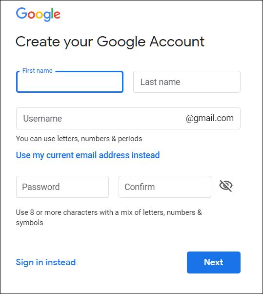La page Créer votre compte Google, sur laquelle vous saisissez vos nom et prénom, nom d'utilisateur et mot de passe.