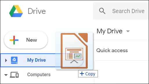 Faites glisser et déposez votre fichier PowerPoint directement dans Google Drive.
