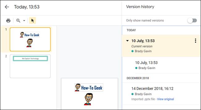 L'historique des versions d'une présentation dans Google Slides.