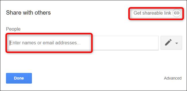 """Saisissez les adresses e-mail ou cliquez sur """"Obtenez un lien partageable."""""""