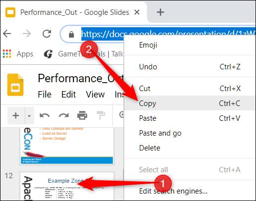 Cliquez sur la diapositive, puis copiez l'URL à partir de la barre d'adresse.