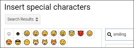"""le """"Insérer des caractères spéciaux"""" barre de recherche avec """"souriant"""" tapé et les emojis résultants."""