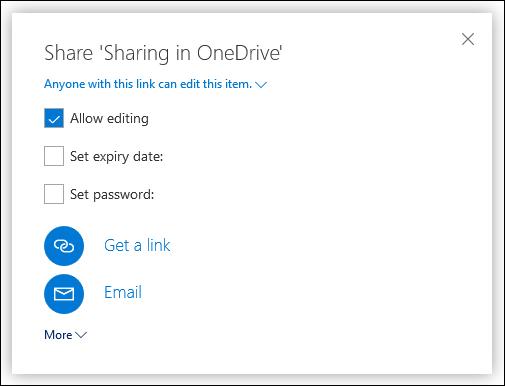 Les options de partage dans OneDrive