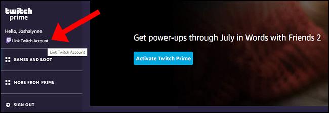 """Cliquez sur """"Lier le compte Twitch."""""""
