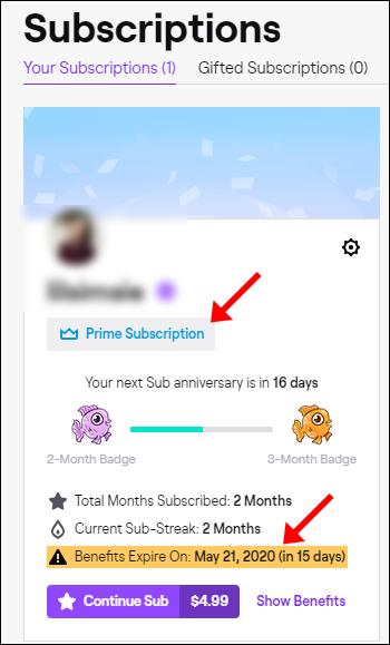 """Une date d'expiration d'abonnement le """"Abonnements"""" page d'un compte Twitch Prime."""