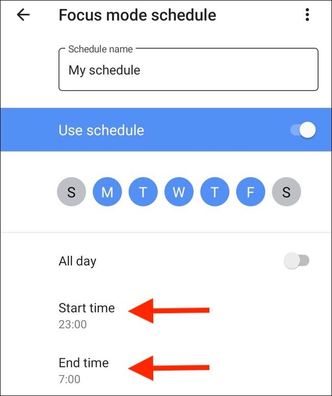 Configurez les heures de début et de fin.