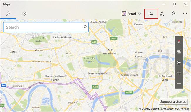Dans Windows 10 Maps, cliquez sur l'icône Lieux enregistrés en haut à droite