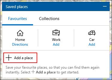 Cliquez sur Ajouter un lieu dans le menu Lieux enregistrés dans Windows 10 Maps
