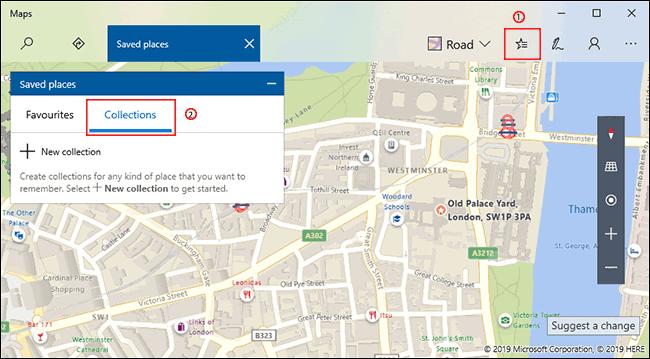 Cliquez sur le bouton Lieux enregistrés dans Windows 10 Maps, puis sur l'onglet Collections