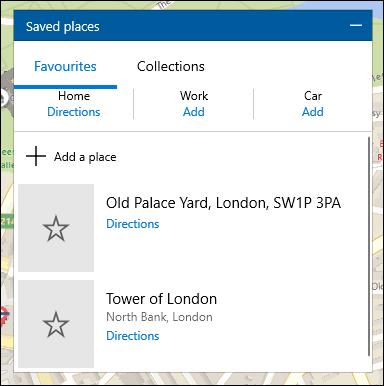 Une liste d'emplacements enregistrés dans Windows 10 Maps