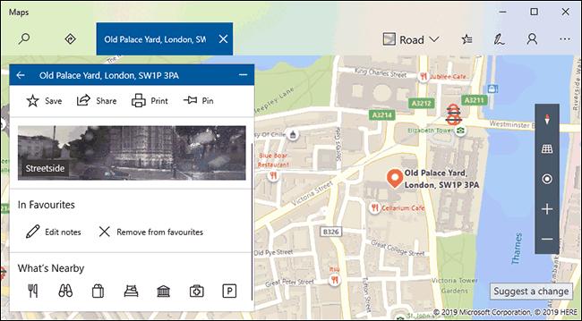 Un exemple de liste d'emplacements préférés dans Windows 10 Maps