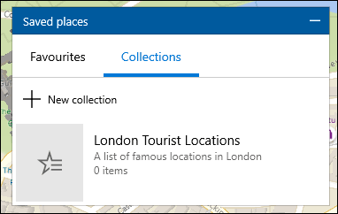 Une liste des collections dans l'application Windows 10 Maps