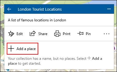 Pour ajouter un emplacement à une collection Windows 10 Maps, cliquez sur la collection, puis sur Ajouter un lieu