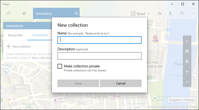 Cliquez sur nouvelle collection, puis indiquez un nom et une description avant de cliquer sur Enregistrer
