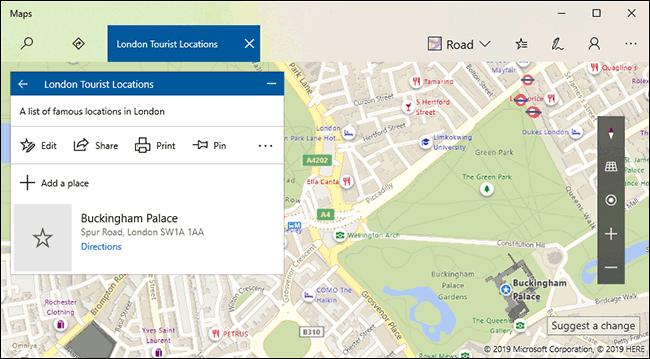 Une collection de cartes Windows 10 avec des listes enregistrées