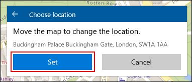 Lors de la création d'un emplacement de collections de cartes Windows 10, positionnez manuellement votre emplacement, puis cliquez sur Définir