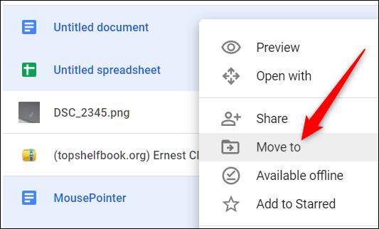 """Vous pouvez également mettre les fichiers en surbrillance, cliquer dessus avec le bouton droit de la souris, puis cliquer sur """"Déménager à."""""""