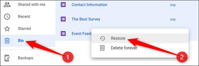 """Sinon, cliquez sur """"Poubelle"""" dans le volet de gauche, cliquez avec le bouton droit sur un fichier, puis cliquez sur """"Restaurer"""" pour le renvoyer sur votre Drive."""