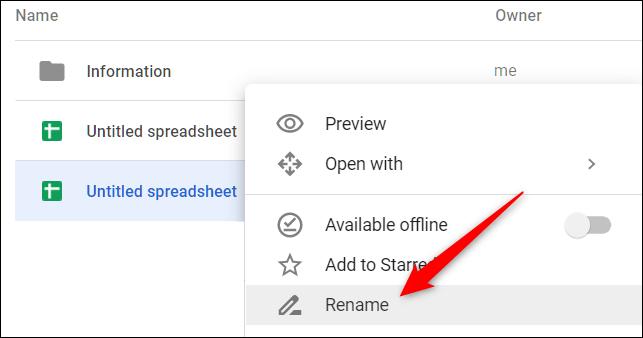 """Cliquez avec le bouton droit sur un fichier et choisissez """"Renommer"""" depuis le menu contextuel"""