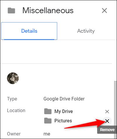 """En dessous de """"Emplacement,"""" clique le """"X"""" à côté du dossier auquel le fichier est lié."""