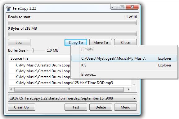 Copie de l'interface utilisateur ou déplacement vers