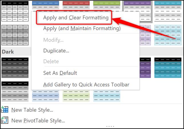 Appliquer et effacer la mise en forme lors de l'application de tableaux