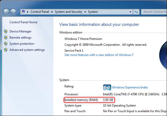 Affichage de la quantité de RAM d'un ordinateur sur Windows 7