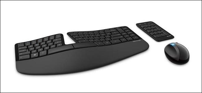 Microsoft Wireless Sculpt, clavier ergonomique, pavé numérique et souris.