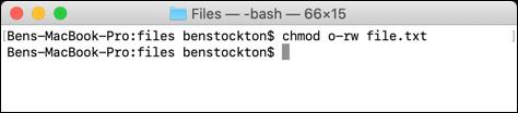 Suppression des autorisations de tous les autres utilisateurs utilisant chmod sur le terminal macOS