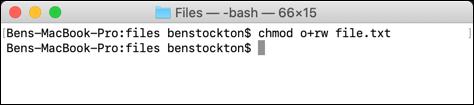 Une utilisation alternative de chmod sur le terminal macOS