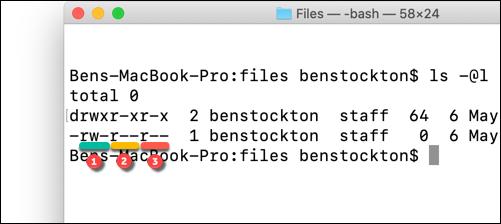 Autorisations de fichier soulignées à l'aide de la commande ls sur le terminal macOS