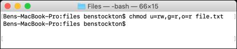 La commande chmod utilisée sur le terminal macOS