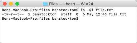 La commande ls sur le terminal macOS