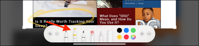 Outils d'annotation avec marqueur sélectionné