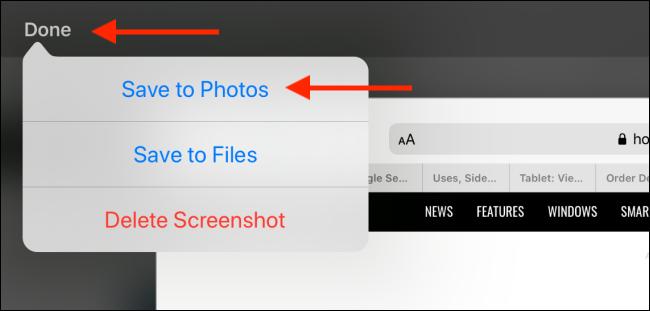 Appuyez sur Terminé, puis sélectionnez Enregistrer dans les photos