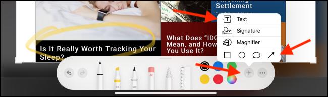 Menu pour plus d'outils d'annotation