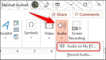 Ajouter de l'audio à partir du PC