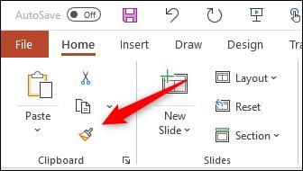 Cliquez sur l'icône Reproduire la mise en forme.